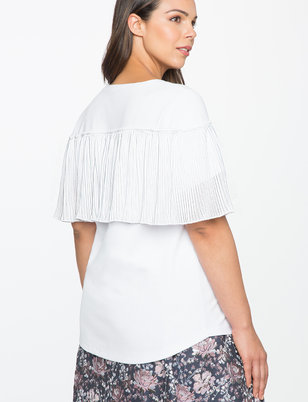 Pleated Chiffon Back Tee