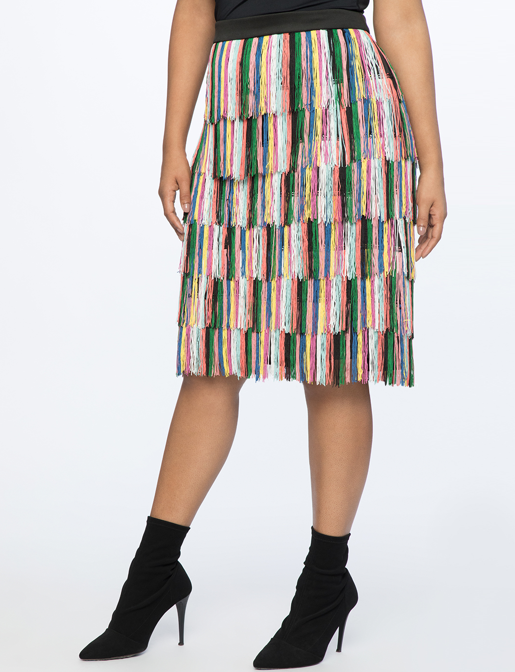 Rainbow Fringe Pencil Skirt