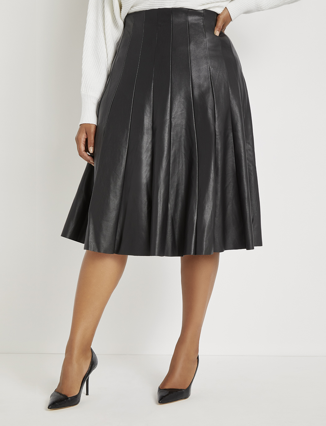 bd90964217f Faux Leather Pleated Skirt | Women's Plus Size Skirts | ELOQUII