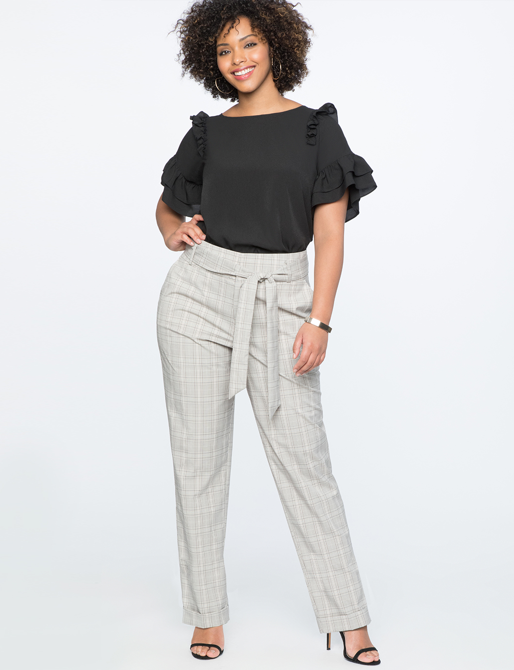 High Waisted Plaid Cuff Pant with Tie