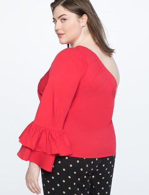 One Shoulder Top with Dramatic Sleeve