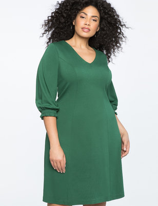 Gathered Sleeve A Line Dress
