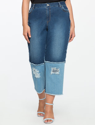 Blocked Cropped Jeans
