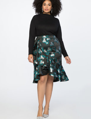 Ruffle Flounce Pencil Skirt