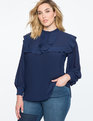 Puff Sleeve Blouse with Ruffles Navy