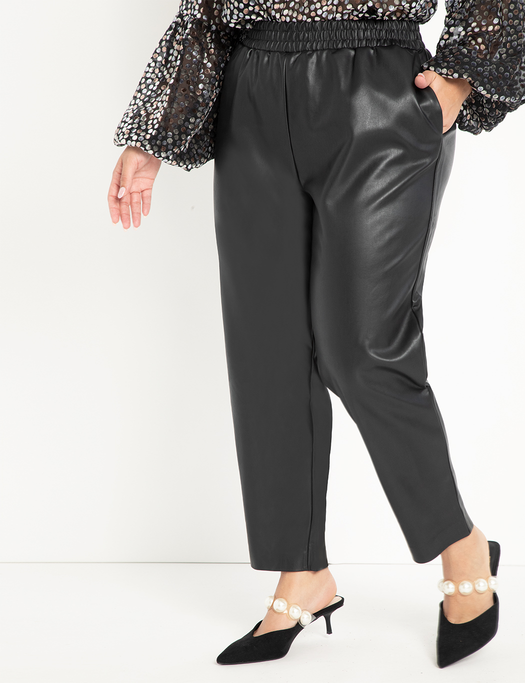 ELOQUII Elements Faux Leather Jogger