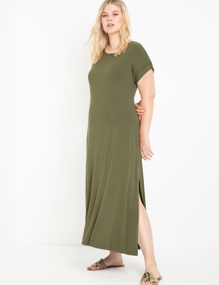 Maxi Tee Dress With Side Slit