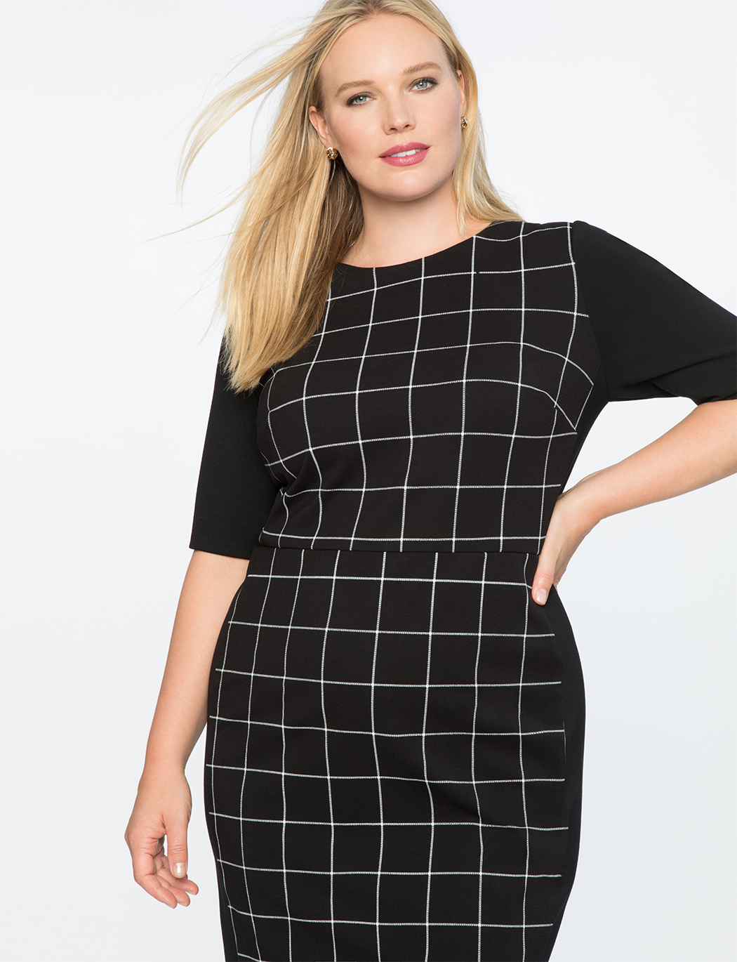 9-to-5 Windowpane Work Dress | Women\'s Plus Size Dresses | ELOQUII