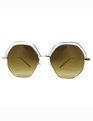Gold Rimmed Hexagon Sunglasses Gold