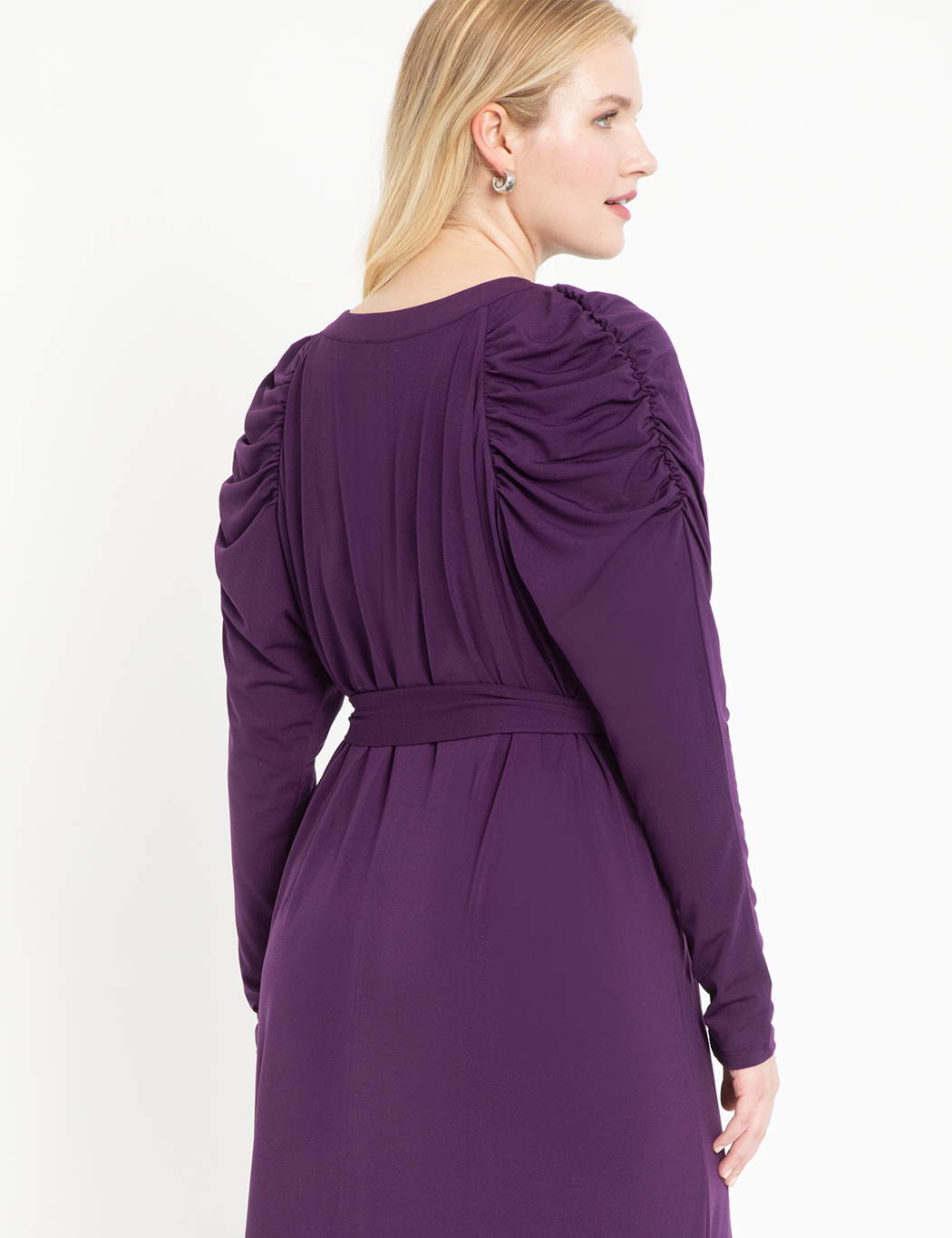 Puff Sleeve Easy Dress With Keyhole