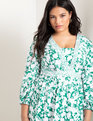 Long Sleeve Mixed Print Dress Peony for Your Thoughts
