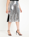 Sequin Skirt with Side Slits Silver