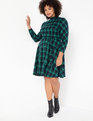 Fit and Flare Plaid Dress Green + Navy Plaid
