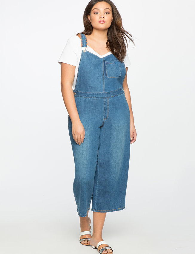 Cropped Denim Overalls