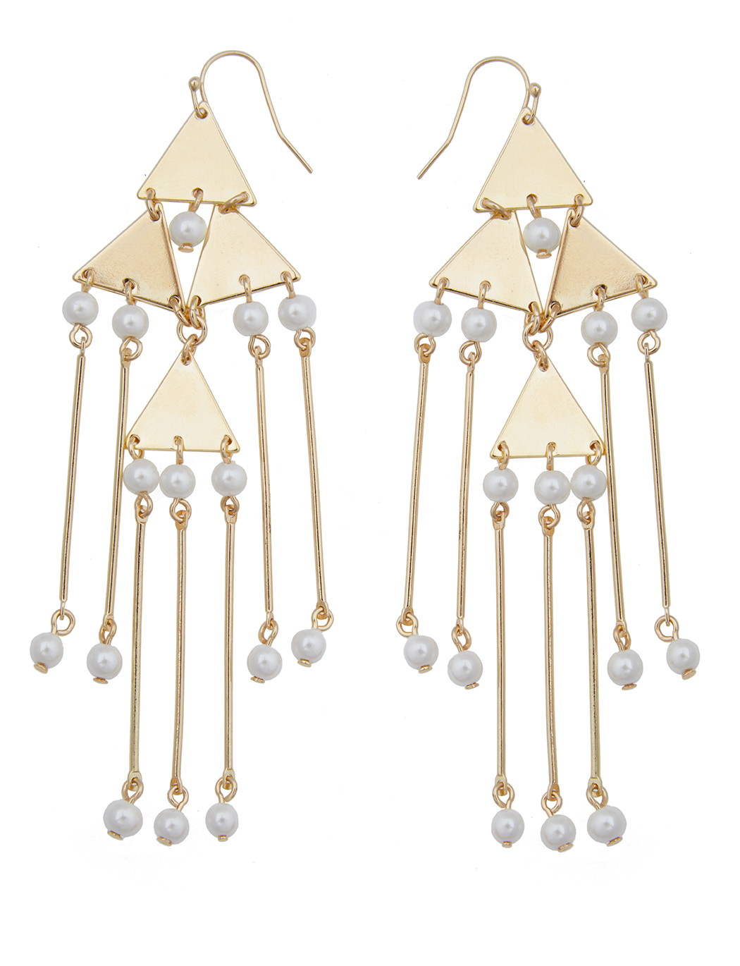 Triangle Pearl Drop Chandellier Earrings