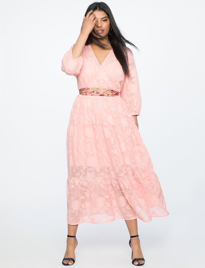 Burnout Chiffon Maxi Dress