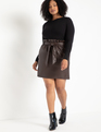 Faux Leather Mini Skirt with Belt Melted Chocolate