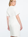 V Neck Sheath Dress WHITE