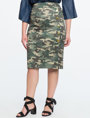 Camo Button Detail Pencil Skirt