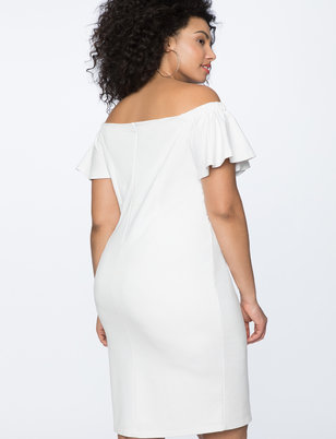 Ruffled Sleeve Off the Shoulder Dress