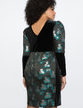 Brocade and Velvet Puff Sleeve Dress Teal, Silver, and Black