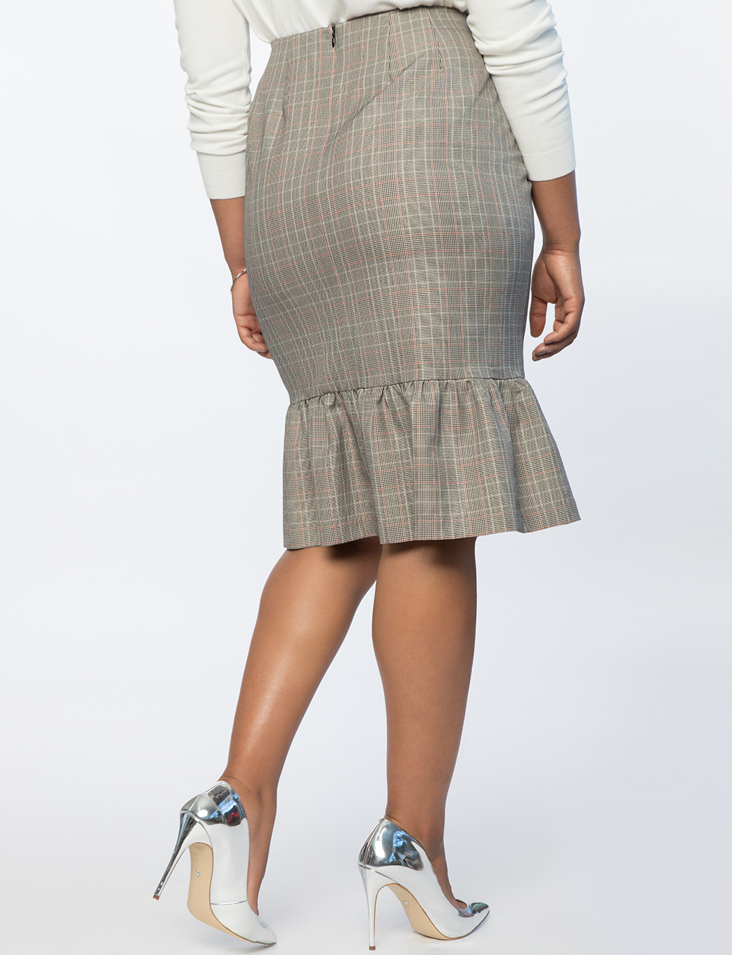Plaid Column Skirt With Flounce