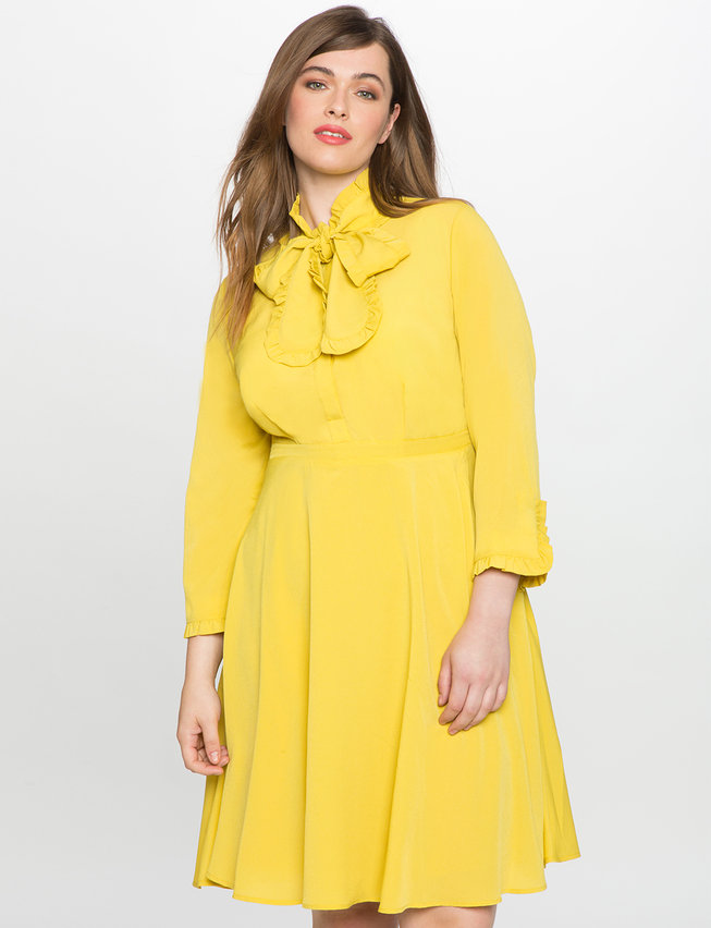 Bow Neck Fit And Flare Shirt Dress Womens Plus Size Dresses Eloquii
