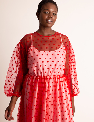 Sheer Dot Maxi With Puff Sleeves