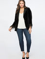 Feather Trimmed Velvet Blazer Totally Black