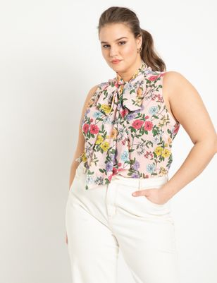 Printed Sleeveless Bow Blouse