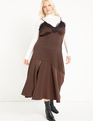 Satin Slip Dress With Lace Trim Melted Chocolate