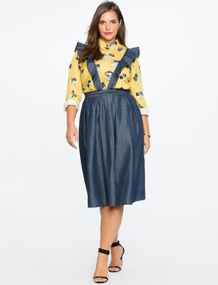 Chambray Skirt with Removable Ruffle Straps