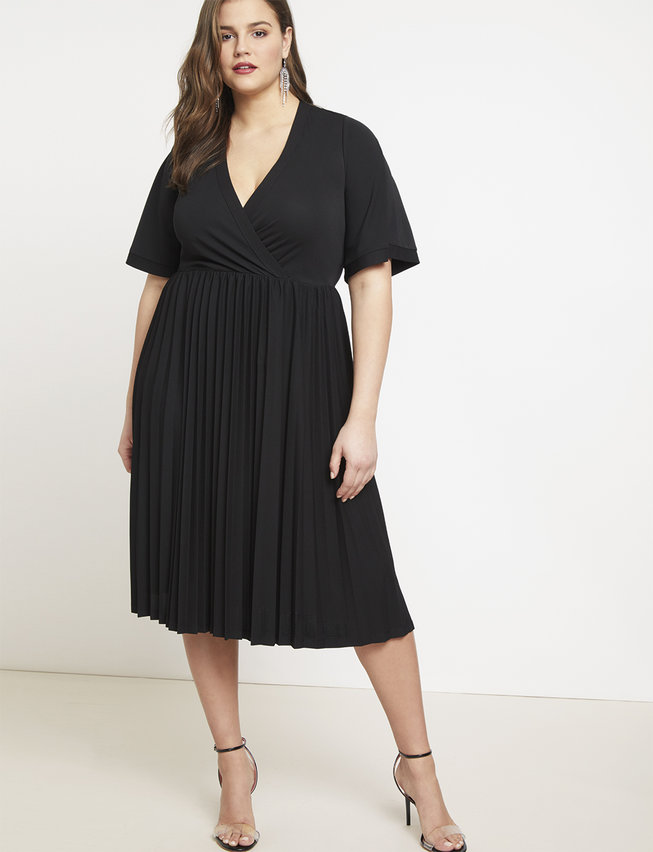 Cross Front Pleated Dress