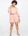 Off the Shoulder Flare Sleeve Romper ROSE DUST