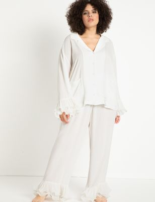 Button Down Lounge Top with Ruffle Sleeve
