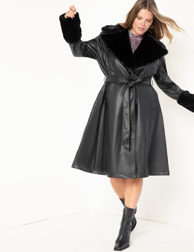 Faux Leather Fit and Flare Coat with Fur Collar