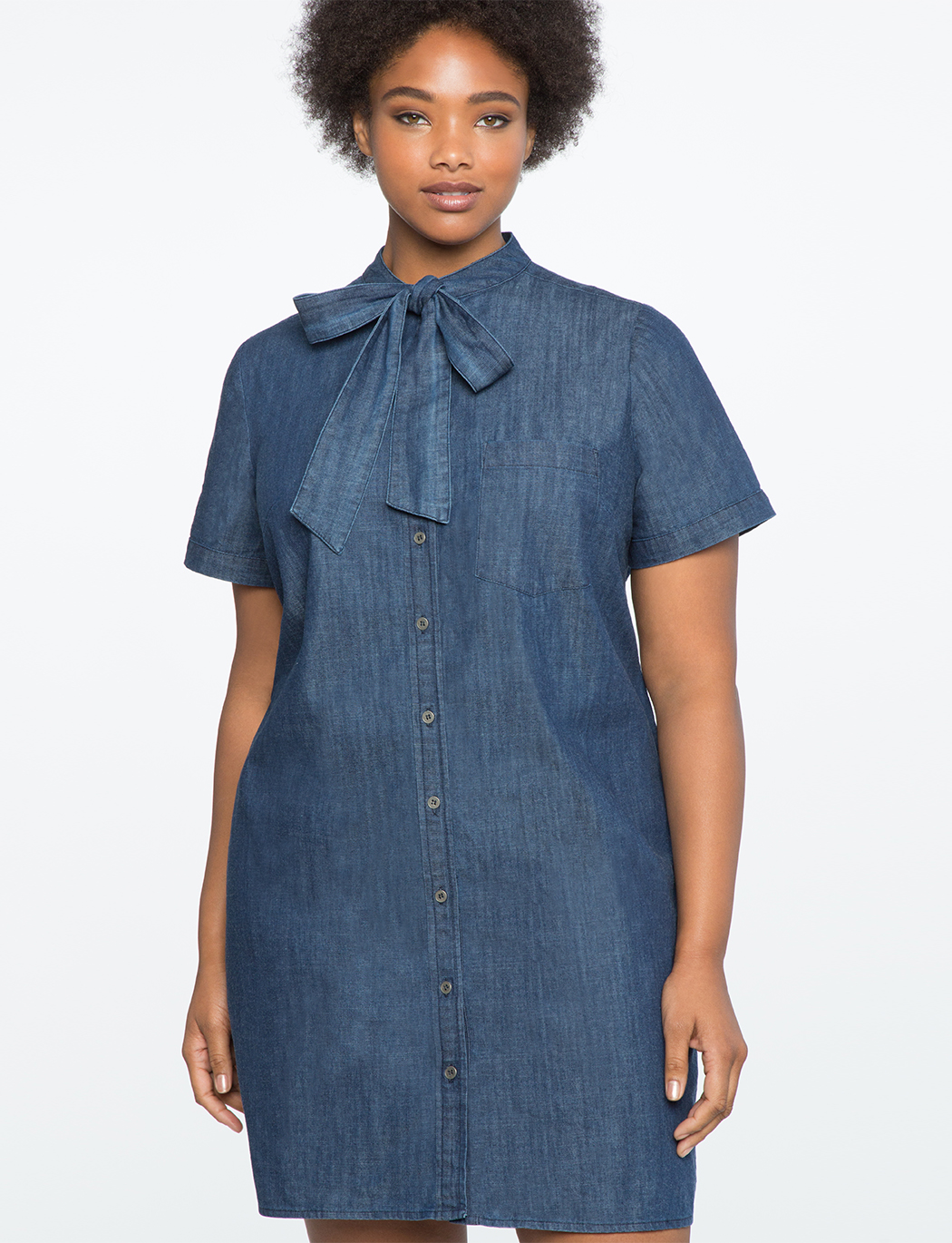 Tie Neck Chambray Shirt Dress | Women\'s Plus Size Dresses | ELOQUII