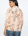Bib Front Blouse with Ruffle Neckline Leafy Blossoms