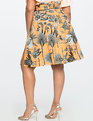 Midi Skirt with Paper Bag Waist and Slit Detail BRANCHING OUT