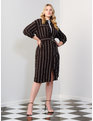 Button Front Belted Dress Black and White Stripe