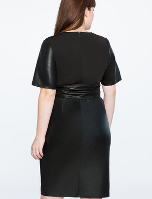 Studio Tie Waist Faux Leather Dress