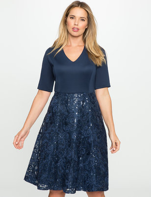 Fit and Flare Dress with Sequin Lace Skirt