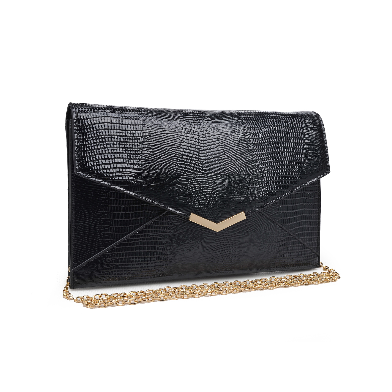Faux Reptile Embossed Clutch