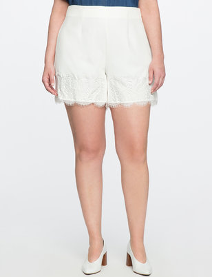 Studio Pleated Scalloped Shorts