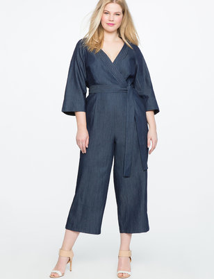 Denim Faux Wrap Jumpsuit