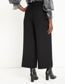 Crop Wide Leg Pant with Belt Black