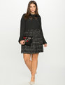 Studio Pleated Button Down with Lace Bib Black