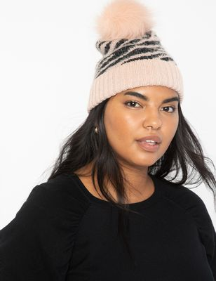 Printed Hat with Faux Fur Pom