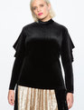 Velvet Ruffle Sleeve Mock Neck Top BLACK