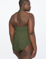 Halter Tie Neck Swimsuit Olive